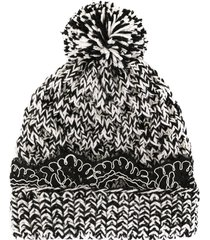 0711 lace-trim knit beanie - black