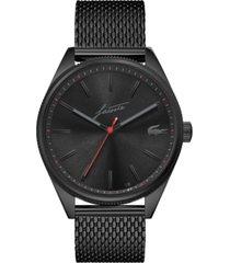 lacoste men's heritage black stainless steel mesh bracelet watch 42mm
