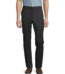 solid woolen straight-leg pants