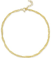 giani bernini singapore chain ankle bracelet in 18k gold-plated sterling silver, created for macy's