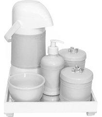 kit higiene espelho completo porcelanas, garrafa e capa flor de liz prata quarto beb㪠 potinho de mel - prata - dafiti