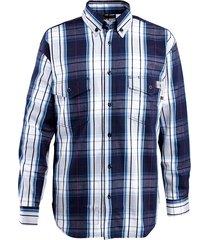 wolverine men's fr plaid long sleeve twill shirt navy, size s
