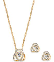 charter club pave knot pendant necklace & stud earrings set in gold plate, created for macy's