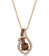"le vian chocolatier diamond 18"" pendant necklace (5/8 ct. t.w.) in 14k rose gold"