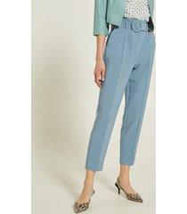 motivi pantaloni a sigaretta con cintura donna blu