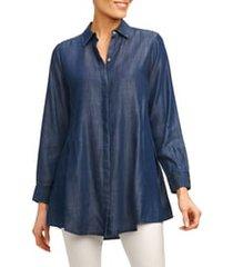 women's foxcroft cici tencel tunic shirt, size 6 - blue