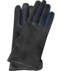 forzieri designer men's gloves, black leather men's gloves w/wool lining & blue trim