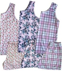 kit 3 pijamas short doll regata feminino