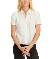 alfani petite collared button-up top, created for macy's