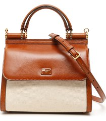 sicily 58 leather and canvas bag
