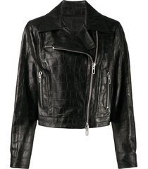 drome embossed croc-effect biker jacket - black