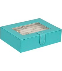 mele co. cole glass top fashion jewelry box and ring case in textured turquoise vegan leather