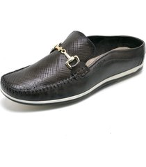 mule sapatãªnis sapatilha com gravata social confort - marrom - masculino - couro - dafiti