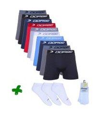 kit cuecas boxer peças + pares de meia soquete dorbe
