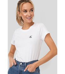 calvin klein embroidery slim tee - white