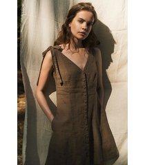 lniana sukienka na ramiączka - desert rose