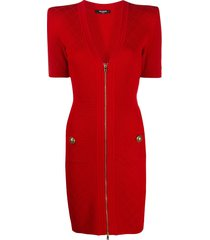 balmain zip knit mini dress - red
