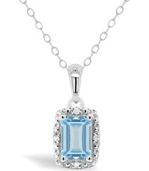 aquamarine (1/2 ct. t.w.) and diamond accent pendant necklace in sterling silver (also available in opal)