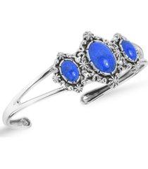 american west by carolyn pollack three denim lapis gemstones cuff bracelet in sterling silver