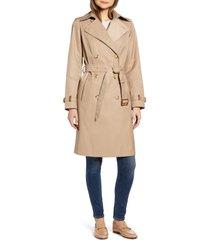 women's lauren ralph lauren double breasted trench coat, size x-large - beige