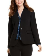 nine west one-button collarless blazer