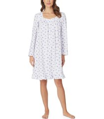 eileen west cotton jersey-knit floral-print venise lace nightgown