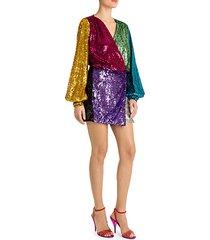 colorblock sequin mini wrap dress