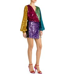 colorblock sequin mini wrap dress