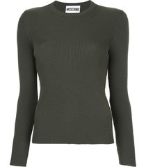 moschino ribbed sweater with tulle inset - green