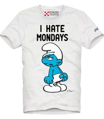 mc2 saint barth i hate mondays printed white t-shirt - the smurfs special edition ®