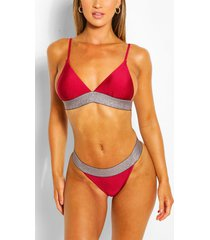 metallic band detail triangle high leg bikini set, wine