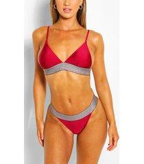 metallic band detail triangle high leg bikini set