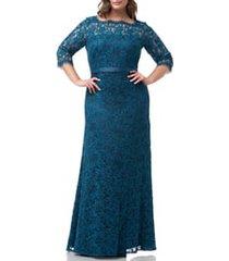 plus size women's js collections bateau neck lace gown