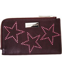 stella mccartney burgundy faux leather wallet with stars