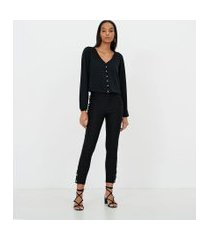 blusa em crepe lisa com botões de pérola | a-collection | preto | p