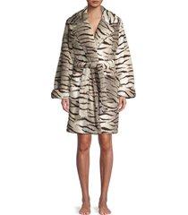 kendall + kylie women's zebra fuzz trench robe - off white - size l