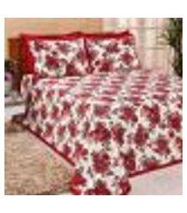 kit cobre leito vermelho floral estampado 3 peças 2,50m x 2,20m