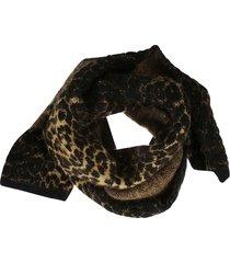 saint laurent fur applique scarf