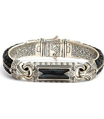 women's konstantino perseus ferrite wide leather & silver bracelet