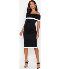 maternity bardot contrast bodycon dress, black