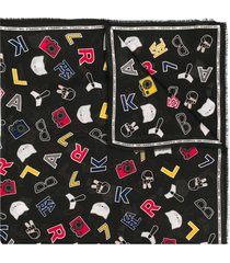 karl lagerfeld all over logo print scarf - black