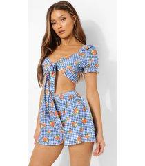 geknoopte gingham crop top en shorts met geplooide zoom, blue