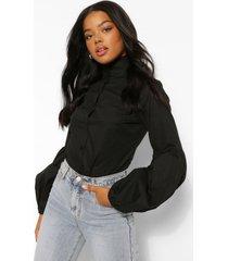 katoenen poplin blouse met hoge hals en volle mouwen, black