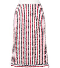 thom browne wide university stripe yarn skirt - white