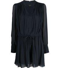 rag & bone carly drawstring-waist dress - blue