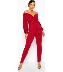 off the shoulder wrap jumpsuit, berry
