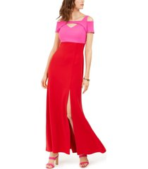 nightway petite two-tone cold-shoulder gown
