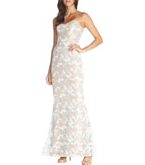 women's dress the population giovanna lace gown, size xx-small - white