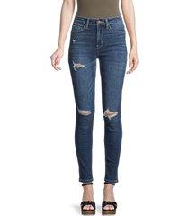 flying monkey women's high-rise distressed skinny jeans - medium dark - size 24 (0)