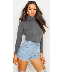 basic turtle neck long sleeve top, charcoal